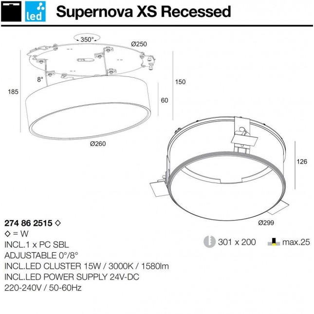 SUPERNOVA XS RECESSED DELTA LIGHT