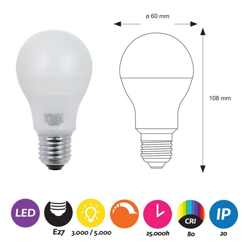 BOMBILLA LED E27 DIMABLE