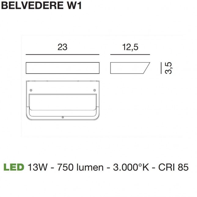 BELVEDERE 13W 750LM BY ROTALIANA