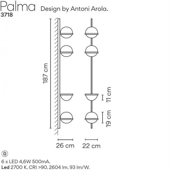 PALMA APPLIQUE 3718 DE VIBIA