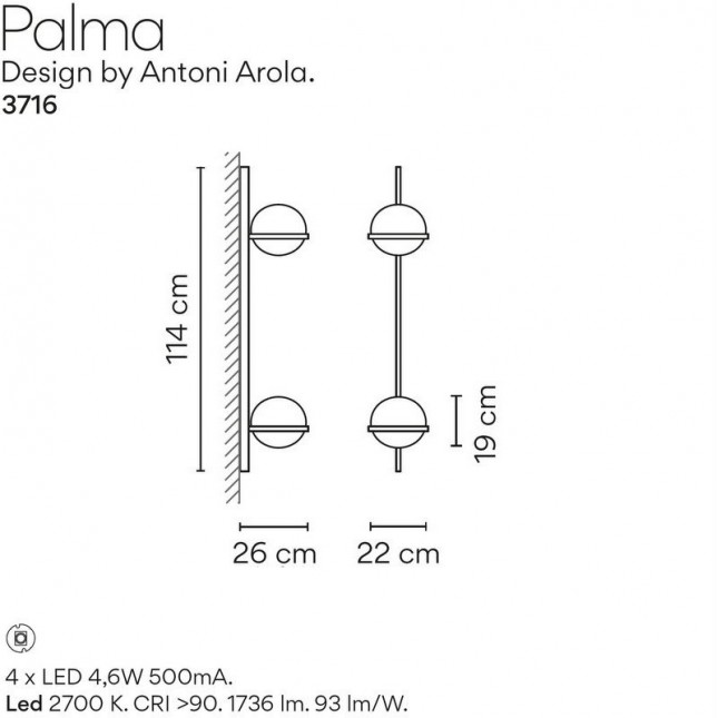 PALMA APPLIQUE 3716 DE VIBIA