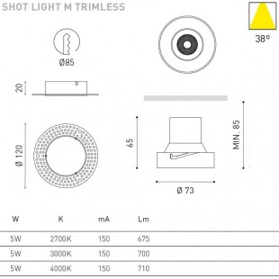 SHOT LIGHT M 5W TRIMLESS DE ARKOS LIGHT