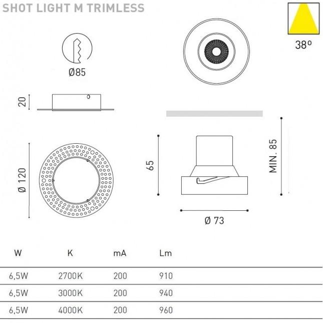 SHOT LIGHT M TRIMLESS 6,5W DE ARKOS LIGHT