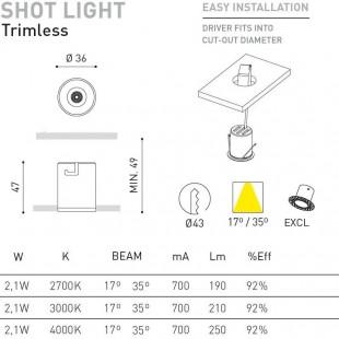 SHOT LIGHT 2,1W TRIMLESS DE ARKOS LIGHT