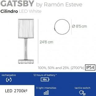GATSBY LAMPE À BATTERIE CYLINDRIQUE DE VONDOM