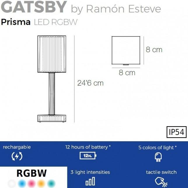 GATSBY LAMPARA BATERIA PRISMA RGBW DE VONDOM