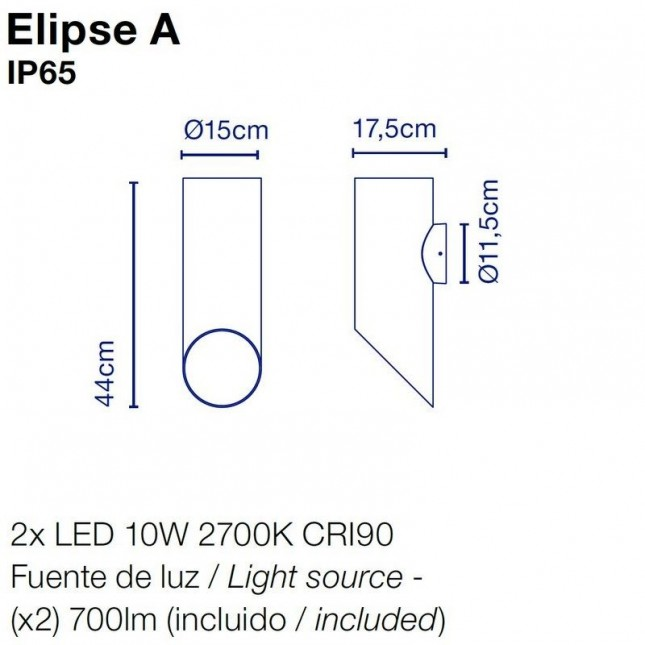ELIPSE OUTDOOR WALL LAMP BY MARSET