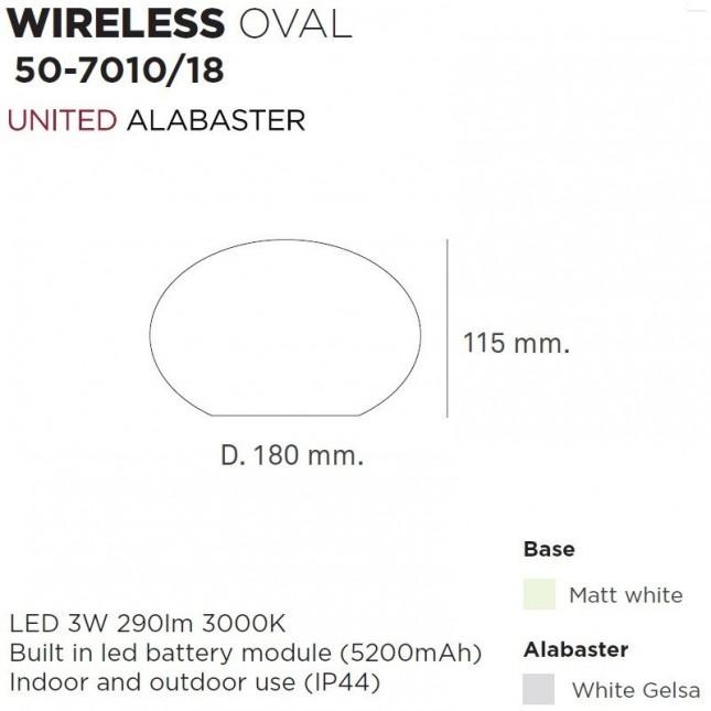 OVAL WIRELESS DE UNITED ALABASTER